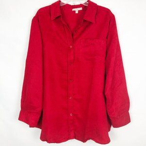 Woman Within I Long Sleeve Red Button Down Shirt